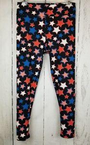 LuLaRoe Tall and Curvy Black W/ Stars Leggings
